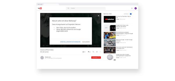 """Seite mit einem YouTube-Video und dem Infofenster """"Warum sehe ich diese Werbung?"""""""