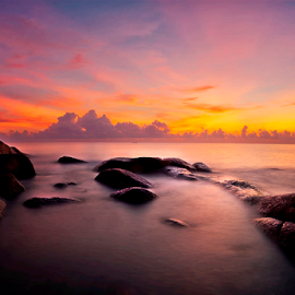 The sea shore  behind the planned Aden resort on Koh Samui. by Richard ten Brinke - Landscapes Waterscapes