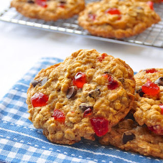 Chocolate Cherry Oatmeal Cookies.