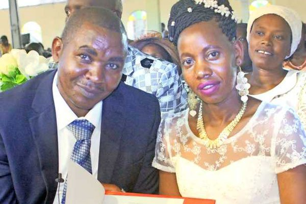 Peter Mbugua with his newly wed Ms Njuguna/ COURTESY