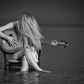 I feel you by Subic Ivo - Black & White Portraits & People ( girl, see, black and white, woman, guitar, hair )
