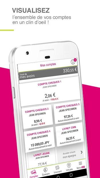 CMSO ma banque: solde, virement & épargne Android App Screenshot