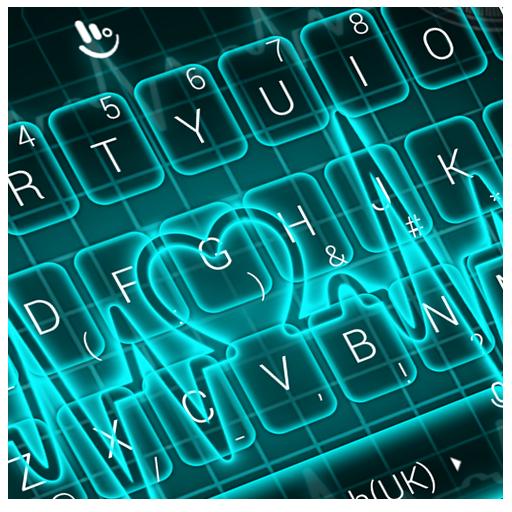 Neon Blue Heart Keyboard Theme