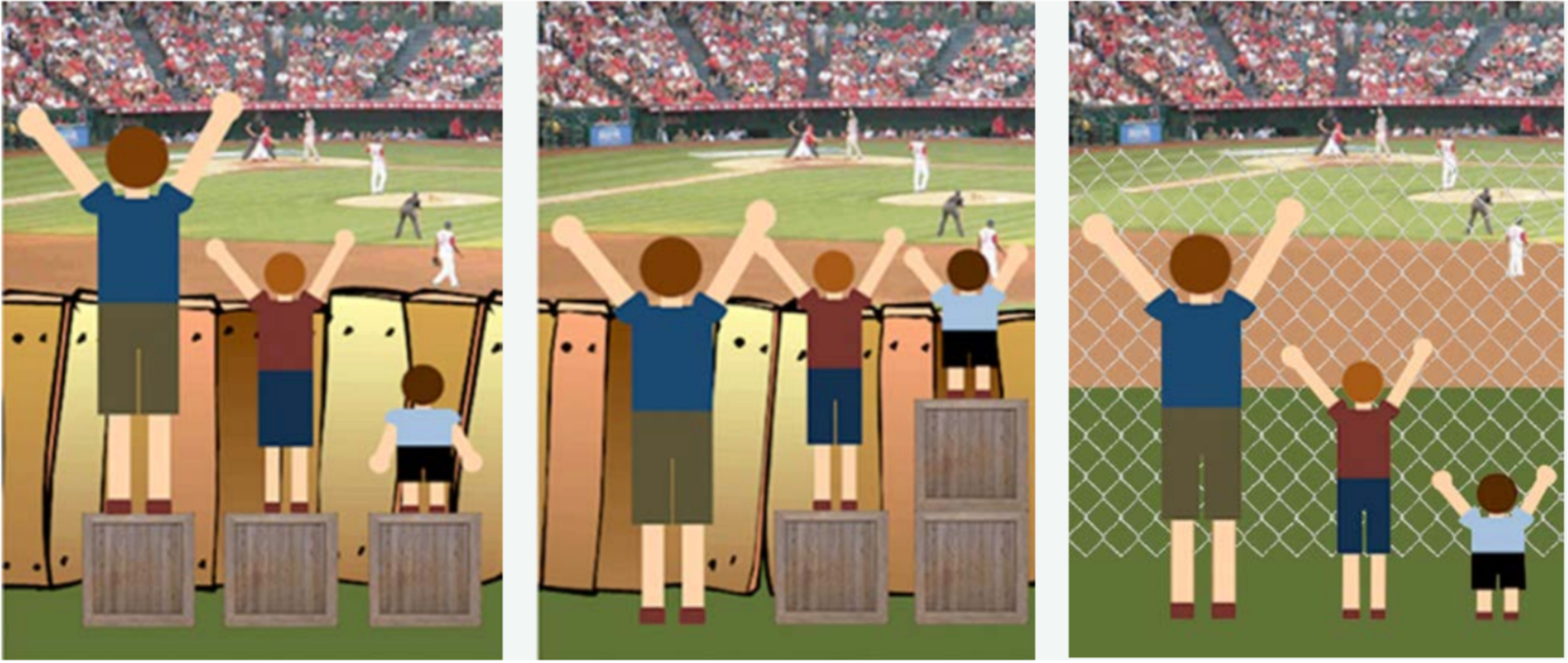 Three images showing people watching a baseball game. The first image shows a non see through fence, second image with the same fence but people have additional boxes to stand on and the last image shows a see through fence.