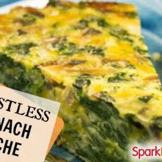 Crustless Spinach, Onion and Feta Quiche.