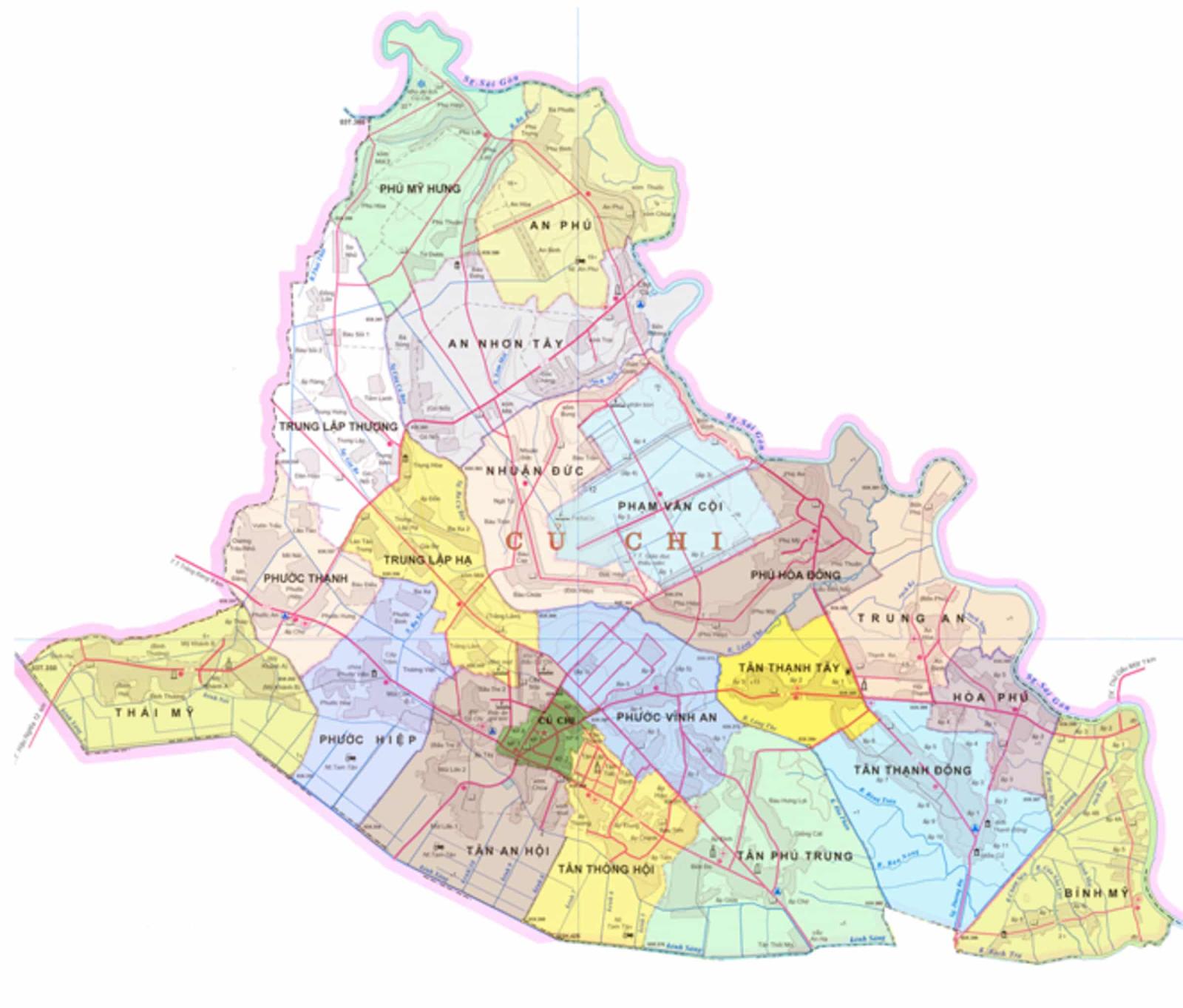 Bản đồ các xã huyện Củ Chi năm 2020