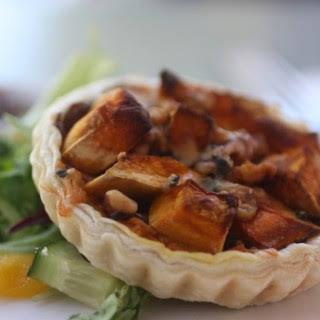 Roasted Pumpkin, Caramelised Onion, Blue Cheese & Walnut Tart.
