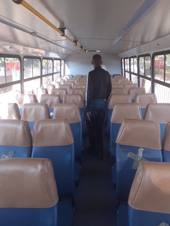 Reduced seating to enforce social distancing guidelines on a bus used to transport pupils to and from school during the coronavirus pandemic.
