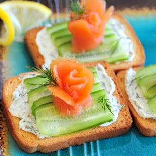 Smoked Salmon Blossom Appetizer with Cucumber and Herbed Cream Cheese