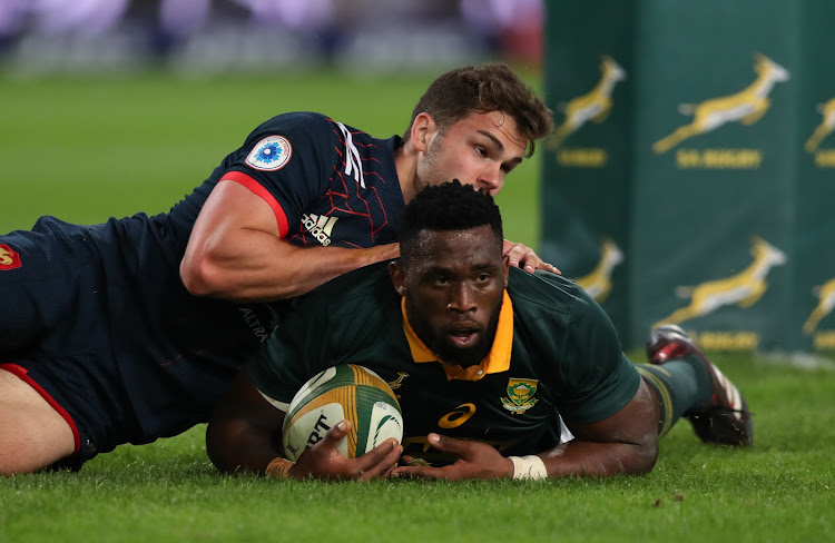 Siya Kolisi going over for a try during the 2nd Castle Lager Incoming Series Test match between South Africa and France at Growthpoint Kings Park on June 17, 2017 in Durban.