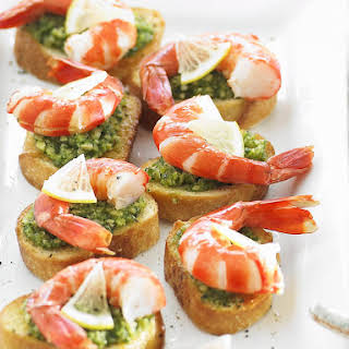 Fish Cakes with Shrimp Bruschetta.