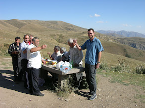 Photo: Waved over to join men enjoying vodka and the view at Selim Pass.