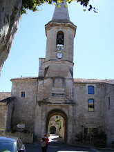 "Photo: For lunch, we amble on over to the neighboring village of Saint-Didier. The bell tower is inscribed part way up with the well-known French motto ""liberte, egalite, fraternite"" and the date 1756."