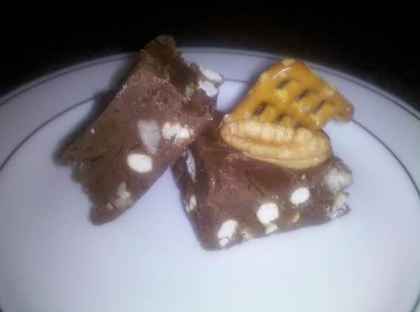 This Shows The Nuts And Pretzels In The Fudge. Look Out, It Is Addictive!