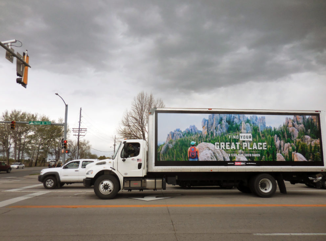 Truck-side ad on roads