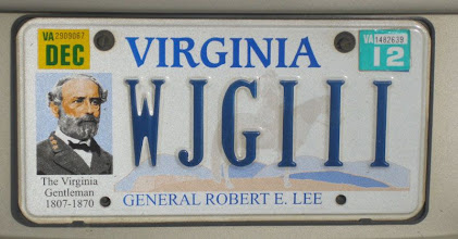 Photo: Get a bunch of reenactors together and there are always interesting things to see on the backs of their cars. For instance, I didn't know the state of Virginia offered a Robert E. Lee license plate. I rather like it even though I'm a Yank.
