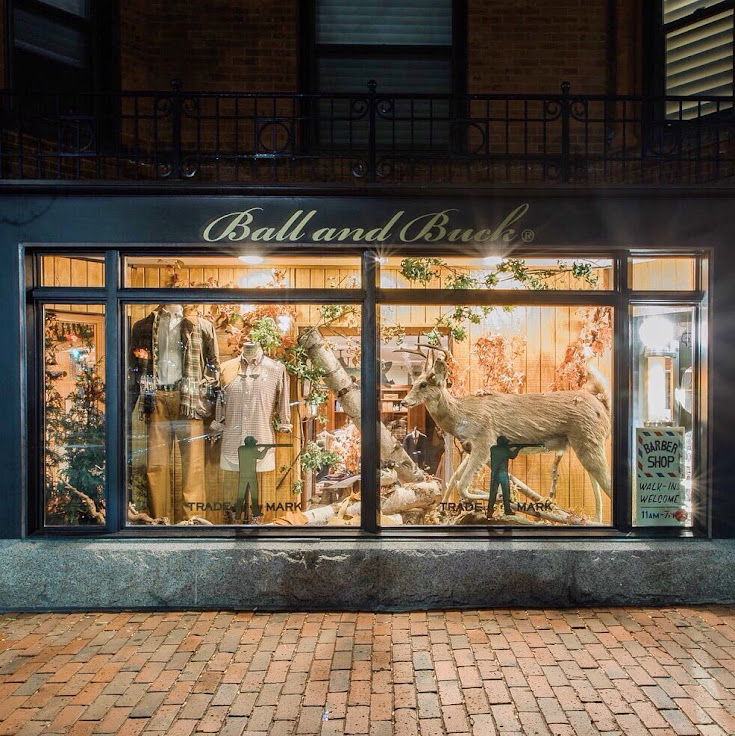 The Ball and Buck storefront on Newbury Street.