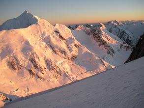 Photo: Mt Tasman - New Zealand's second highest peak - bathed in the dawn sun.