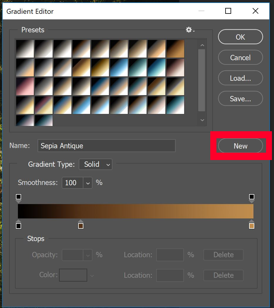"Gradient Editor panel with ""New"" button highlighted with red box"