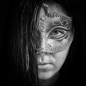 Darkness by Lubomir Gobs - People Portraits of Women ( look, f2.8, white, mask, tamron, d700, woman, dark, 28-75mm, nikon, darkness, hair, black, f4 )