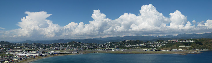 Photo: Lyall Bay, Wellington Airport and thunderstorms!