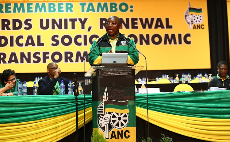 Cyril Ramaphosa addresses delegates at the 54th ANC national conference for the first time as the party's president.
