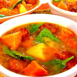 Sweet Potato and Linguica Sausage Soup