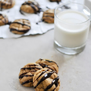 Fudge Striped Pumpkin Peanut Butter Cookies