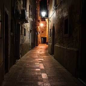 2:30 AM by Michael Keel - City,  Street & Park  Neighborhoods ( cobblestone street, cres, croatia, italy, alley )