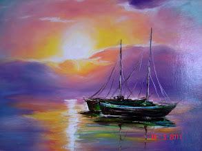 Photo: 164, Нетронина Наталья, Сиреневый закат на море, масло, картон, 30х21см, 480 грн.