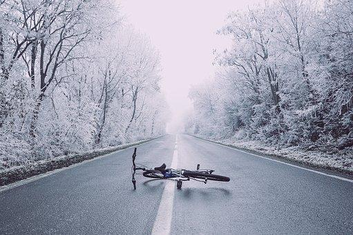 Bicycle, Road, Trees, Snow, Winter