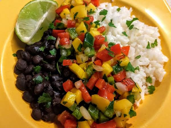 Black Bean And Rice Bowl With Mango Salsa