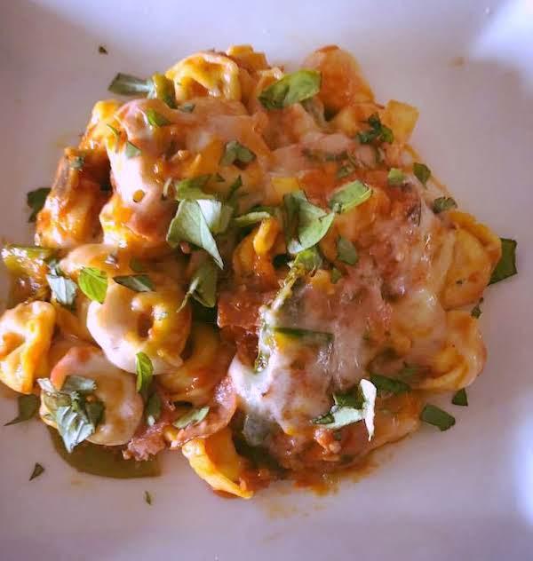 Cheesy Turkey Pastrami Tortellini Vegetable Bake Recipe
