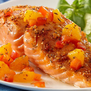 Recipe Inspirations Citrus Baked Salmon with Orange Salsa.