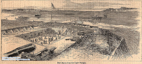 """Photo: """"Fort Macon from upper Parapet."""" Harpers Weekly, May 17, l862, page 316."""