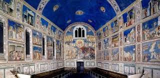 Panoramic view of the interior of the Scrovegni Chapel, Arena Chapel painted by Giotto