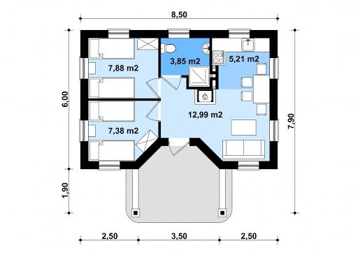 G132 - Budynek letniskowy - Rzut parteru