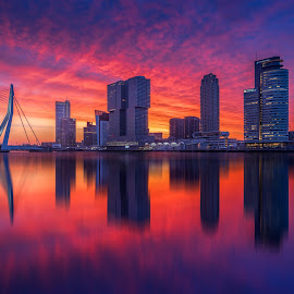 Beautiful sky over Rotterdam by Rémon Lourier - City,  Street & Park  Skylines ( thenetherlands, highrise, reflection, rotterdam, blue hour, cityscapephotography, pixoto, cityscape, photography, colours, mirrored reflections, fineart, holland, bridge, sunrise, river )