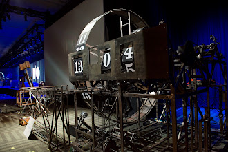 Photo: We counted down the seconds to the start of the keynote with the help of an elaborate Rube Goldberg machine.