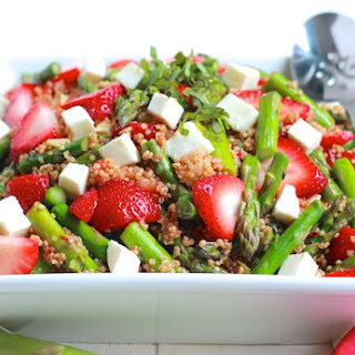 Asparagus, Strawberry, and Quinoa Caprese Salad.
