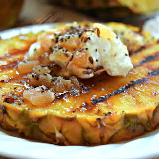 Grilled Pineapple with Yogurt, Date Syrup and Candied Ginger.