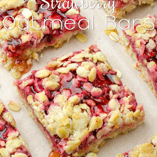 Healthy Breakfast Strawberry Oatmeal Bars.