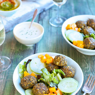 Roasted Poblano Kale Falafel Salad Bowl with Tahini Jalapeno Vinaigrette