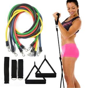 Sistem de antrenament fitness cu corzi extensibile, prinderi multiple, 11 piese