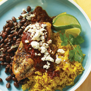 Ancho Chile Chicken with Black Beans.
