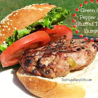 Green Chili Pepper Jack Stuffed Turkey Burgers