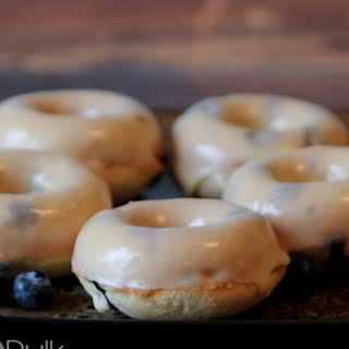 Glazed Baked Blueberry Doughnuts.