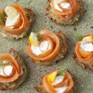 Rostis With Smoked Salmon and Dill Creme