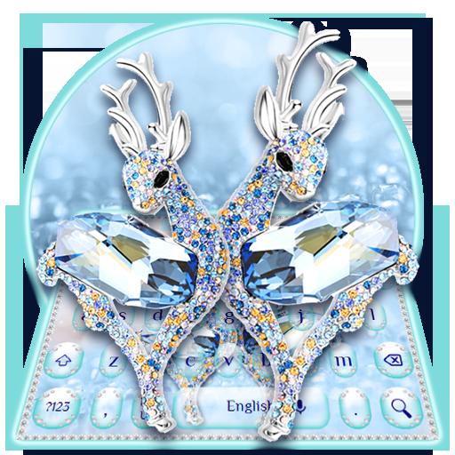 Blue Diamond Deer Keyboard