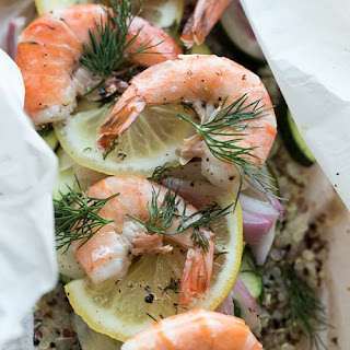 Shrimp and Rainbow Quinoa En Papillote